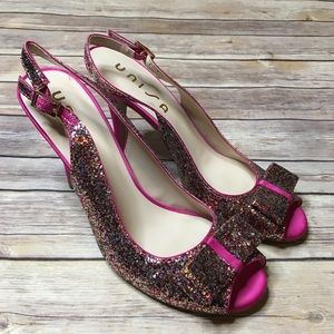 Unisa size 10 colorful glitter heels with bow